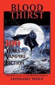 BLOOD THIRST by Leonard Wolf