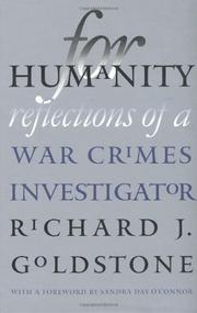FOR HUMANITY by Richard J. Goldstone