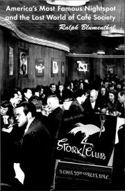 STORK CLUB by Ralph Blumenthal