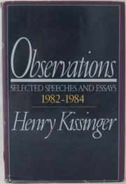 OBSERVATIONS by Henry Kissinger