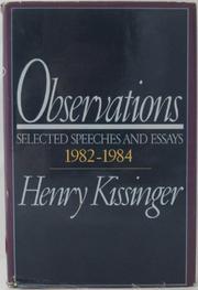 OBSERVATIONS by Henry Kissinger