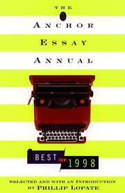 THE ANCHOR ESSAY ANNUAL by Phillip Lopate