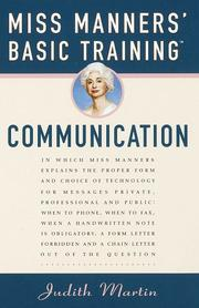 MISS MANNERS BASIC TRAINING by Judith Martin