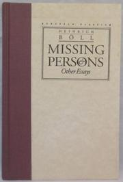 MISSING PERSONS And Other Essays by Heinrich BÖll