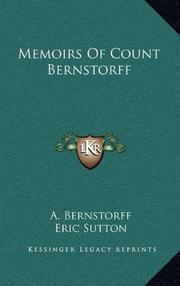MEMOIRS OF COUNT BERNSTORFF by Count Bernstorff