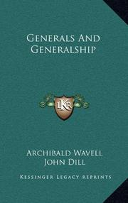 GENERALS AND GENERALSHIP by General Sir Archibald Wavell