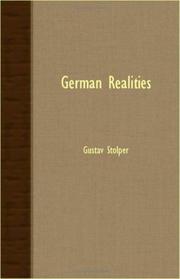 GERMAN REALITIES by Gustav Stolper