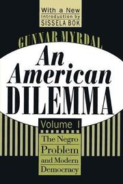 AN AMERICAN DILEMMA by Gunnar Myrdal