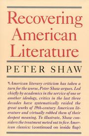 RECOVERING AMERICAN LITERATURE by Peter Shaw