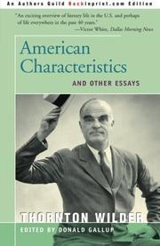 AMERICAN CHARACTERISTICS by Thornton Wilder