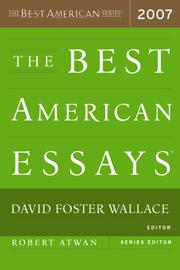 Book Cover for THE BEST AMERICAN ESSAYS 2007
