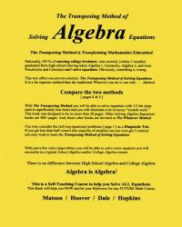The Transposing Method of Solving ALGEBRA Equations