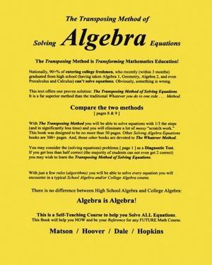 The Transposing Method of Solving ALGEBRA Equations